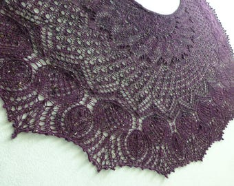 Wonderfully Soft, Thistles in Tweed Shawl, Hand-knit in Merino and Donegal Tweed
