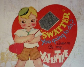 ON SALE till 7/28 Boy With Fly Swatter - Be Mine Vintage Valentine Card