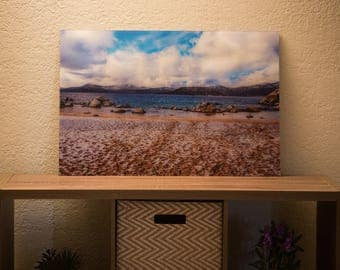 20 x 30 in Acrylic Photo Of A Snowy Beach In Lake Tahoe