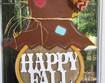 Happy fall, fall decor, scarecrow door hanger, fall door hanger, halloween decor, scarecrow, happy fall decor
