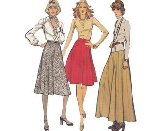 Vintage 70s Flared Skirt Pattern Gored Mod Maxi Skirt Pattern 1970s Sewing Pattern Simplicity 6521 Size 10 Waist 25