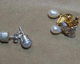 Earrings - two sets of fresh water pearls - one GP and one Sterling Silver   (EC02)