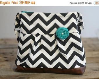 CHRISTMAS SALE Concealed Carry Messenger Bag, Black Chevron, Diaper Bag Style, Conceal Carry Handbag, Concealed Carry Purse, Conceal