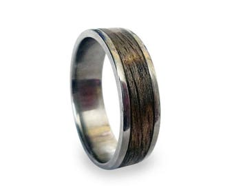 Titanium Ring, Mens Titanium Wedding Band, Wooden, Wood Ring, Wrapped Wood Inlay, Replacement Ring for Jake Machala