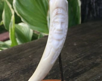 Native American Face Carved White Tail Deer Antler Tip