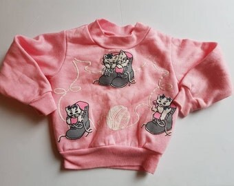 Vintage kitty toddler sweatshirt Made in Canada