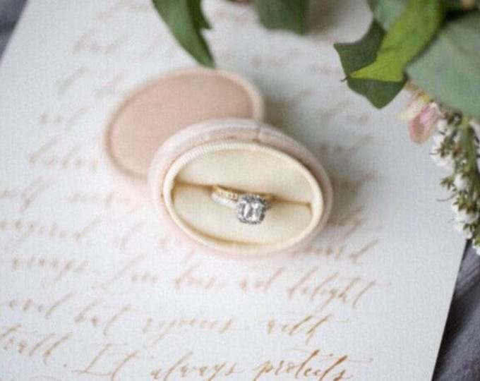 Featured listing image: Ring Box in Champagne Velvet for Wedding Sets or Wedding Service