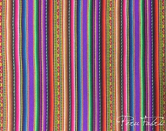 PERU FABRIC Bright Lilac Striped Tribal by meter/Cheap fabric Peruvian art / Peru fabric /textile cusco /Fabric outlet online/mexican fabric