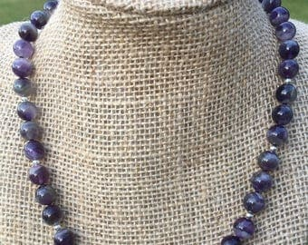 Lace Amethyst and Sterling Silver Beaded Necklace