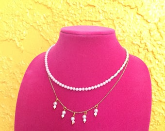Pink Green pearl beaded combination necklace