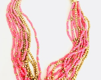 Women handmade handcrafted artisan pink gold seed beads layered ethnic indian tribal boho chunky necklace.Fashion costume jewelry.