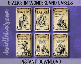 Printable Alice in Wonderland Labels Potion Apothecary Collage Sheet Instant Download