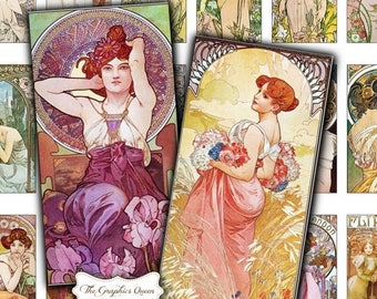 80%  off Graphics Sale Mucha Print 1 x 2 Digital Collage Sheets INSTANT Download  Pendant Jewelry Mucha Jewelry Rectangle Necklace Domino Pe