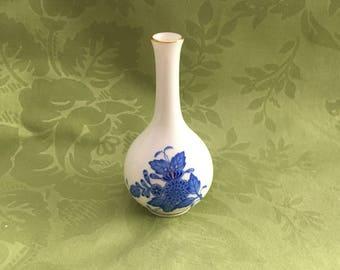 Herend Miniature White Porcelain Vase, Cobalt Blue Floral Design, Chinese Bouquet Blue, Gold Trim, Narrow Neck Mini Vase, Hallmarked