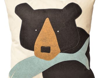"21"" Black Bear with Fish Large Decorative Throw Pillow, Winter Home Decor, Cabin, Lake House, Holiday, Vermont, Christmas, The Salty Cottage"
