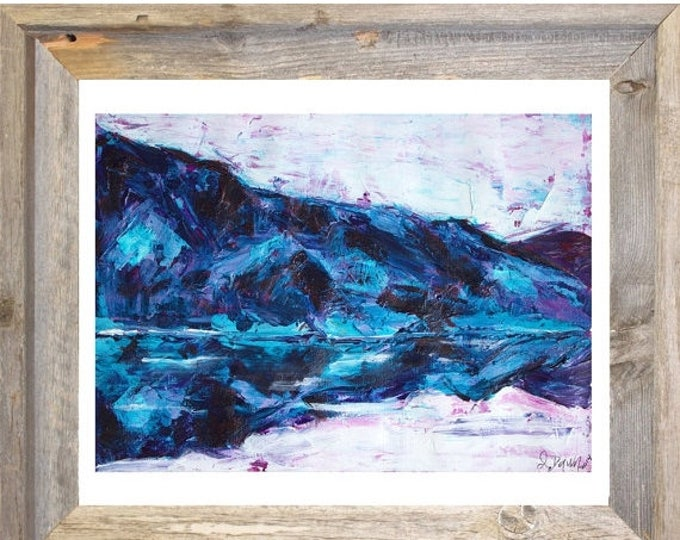 SALE Mountain Lake Abstract Landscape Painting-Original Watercolor Painting-Gift