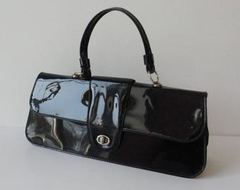 Black 60s Vintage Top Handle Bag // Vegan // Lanza // Made In N.S.W.