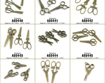 Jewelry Making Supply Charms Findings Scissors Bronze Tone Crafting Craft Supplies Jewellery Lots Charme Antique Bronze Filigrees