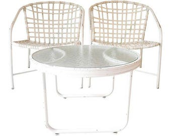 Brown Jordan White 3-Pcs Outdoor Patio Ensemble Two Chairs and Table