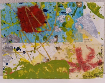 Florida Red Mixed Media Collage 8 x 6 Work on Paper Map