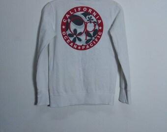 Vintage OP Ocean Pacific Sunwear Big Logo on the Back Drawing Sweatshirt