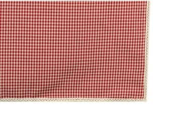 Square tablecloth with lace 150X150cm red gingham fabric