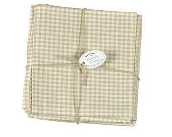 "Set of 6 napkins in gingham ""ecru"" 40x40cm"