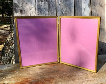 Vintage 8x10 Double Hinged Embossed Ornate Gold Metal Picture Frame Photo Frame Mid Century Wedding Decor