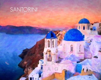 Santorini Print - Greece Wall Art - Greek Islands Print - Santorini Poster Home Decor Fine Art Print #vi811