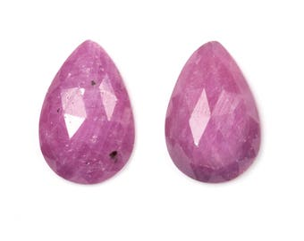 Bright Pink Sapphire, Sapphire Cabochons, Rose Cut Pair, Rainbow Sapphire, Cabochon Slice, Natural Sapphire, Loose Sapphire, Loose Gemstones