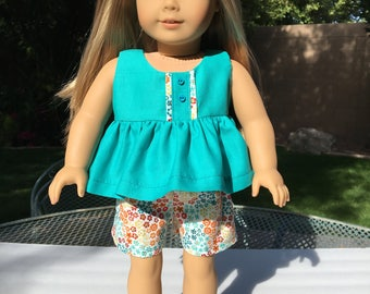 "18"" AG doll Shorts and Top in Teal and Orange"