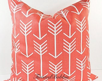 SALE Coral Pillow. Pillow Cover.  coral and White. arrow.Cushion.Covers.Pillow Case, Fits  16x16