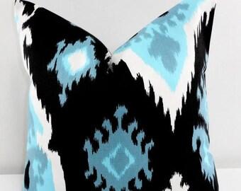 SALE Black Pillow cover. Premier Ikat Regatta. Black Blue and white Sofa Pillow cover. sham cover. Red Sham cover. Select size.