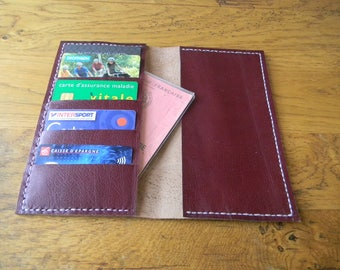 Checkbook and Burgundy and white leather card holder