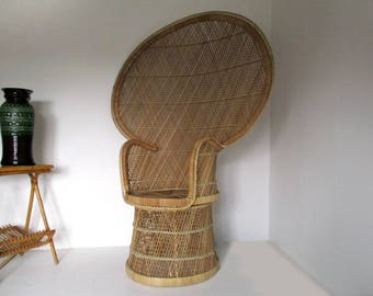 Emmanuelle Chair, Peacock Chair, Vintage Rattan Peacock Chair, French Peacock  Chair, Large