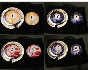 Billiard Set  -  Swirl Ball Case Hanger and Pocket Marker (Choose from 16)
