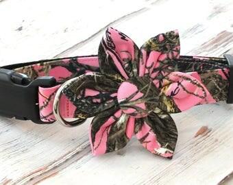 True Timber Dog collar Set with Crimson Flower, wedding flower, pet collar flower, collar flower