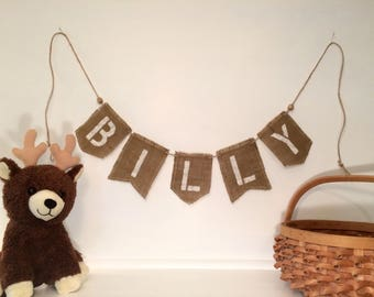 Custom Burlap Name Banner for kids or adults - any occasion