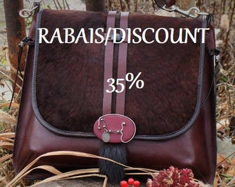Enjoy a 35% discount, for women's Burgundy leather handbag, handmade, exclusive, Quebec artists
