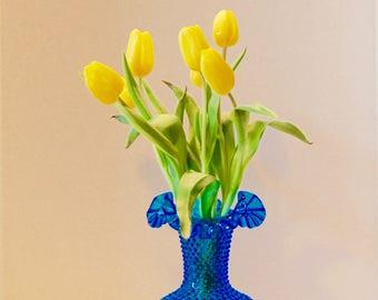 Fenton Glass 3752...Fenton Colonial Blue Vase...Blue Hobnail Vase...