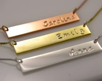 Personalized Bar Name Necklace Hand Made in Sterling Silver .925