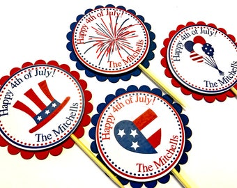 20 4th of July Cupcake Toppers, fourth of july, July 4 decorations, 4th of July party decorations,  independence day party, red white blue