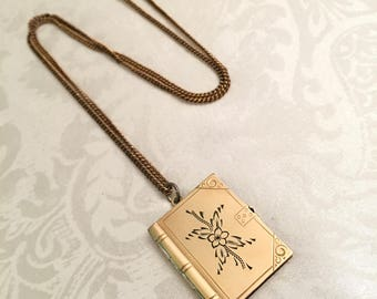 Antique Vintage 1/20 12KT Gold Filled GF Photo Picture Book Booklet Locket Pendant Necklace Vintage Jewelry