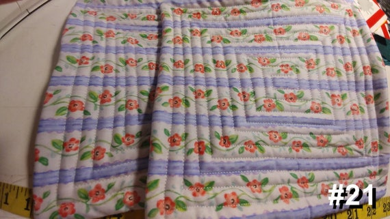 CHARITY (White purple stripes pink flowers HOT PAD set of 2 #21)