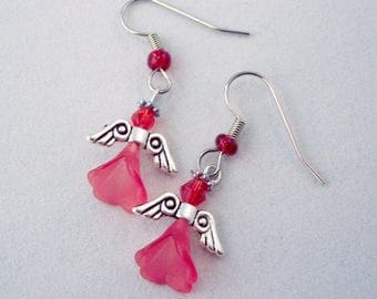 Valentine's Jewelry Tiny Angel Flower Earrings Red Earrings Small Earrings Wing Earrings Garden Earrings