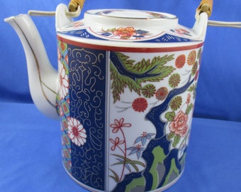 Oriental Blue and Red Teapot with Basketweave Handle