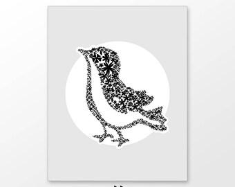 Customized little bird nursery decor, custom nursery art printable, digital image c138