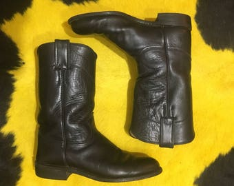 Vtg Justin Boots - 6.5 B - Black Western Boots - Cowboy Boots - 6 1/2 B - Cowgirl Boots - Vintage Clothing - Made in USA -
