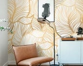 Leaf Wallpaper, Exotic leaves Wallpaper, Large leaf Wall Mural, Home Décor, Easy install Wall Decal, Removable Wallpaper B013