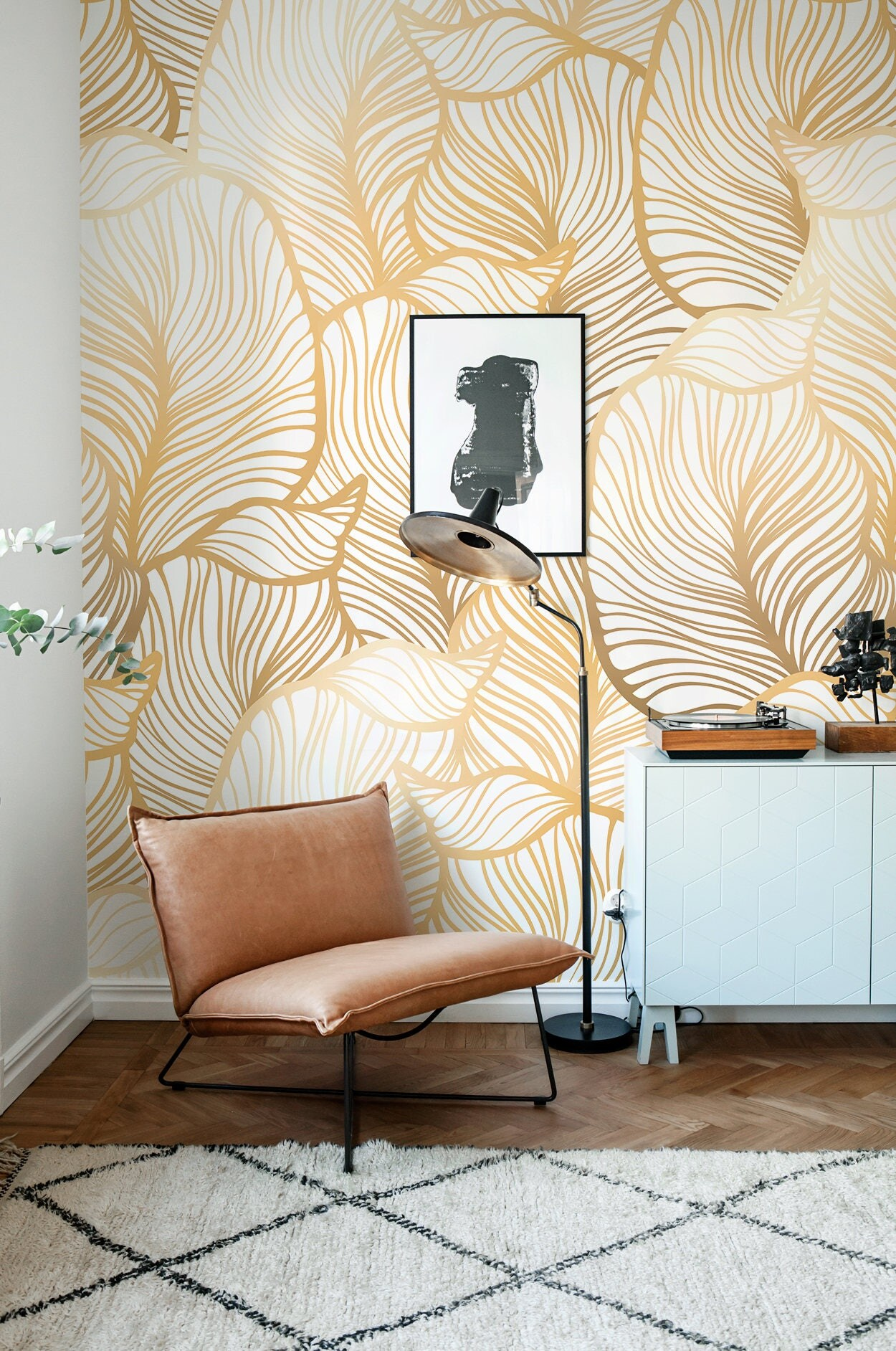 Solid Gold Leaf Wallpaper, Exotic Leaves Wallpaper, Large Leaf Wall Mural,  Home Décor Part 59
